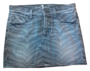7 For All Mankind Zebra Mini Skirt grey print