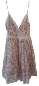 short dress White w/ floral print Lace Trim on Tradesy