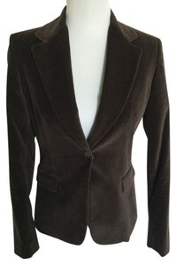 Tahari Cotton Velvet Jacket Brown Blazer