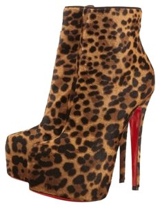 Christian Louboutin Daffodile Leopard Animal Print Leather Ankle Print Ponyhair Stiletto Platform Hidden Platform Brown Boots
