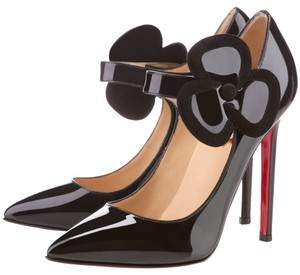 Christian Louboutin Patent Patent Leather Mary Jane Black Pumps