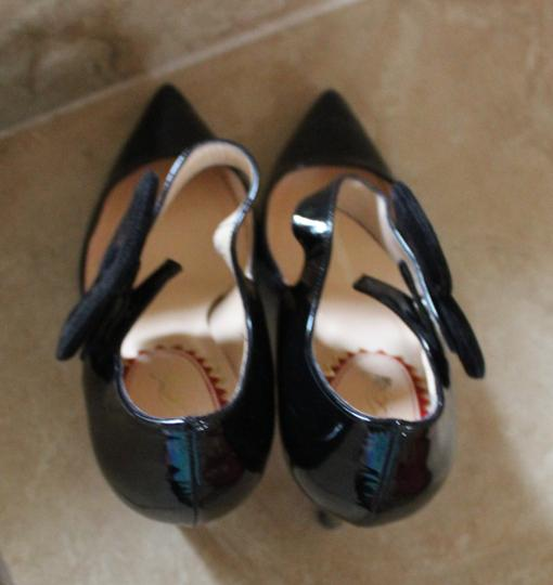 Christian Louboutin Patent Patent Leather Mary Jane Pensee Black Pumps