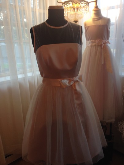 Andrew Adela Blush Pink Satin Tulle Bridesmaid/Mob Dress Size 4 (S)