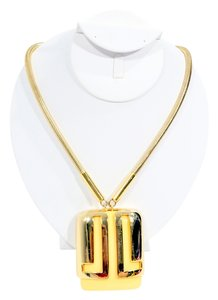 Lanvin Lanvin Runway Couture Ivory Enamel & Gold Tone Art Deco Gatsby Style Oversize Pendant Necklace.