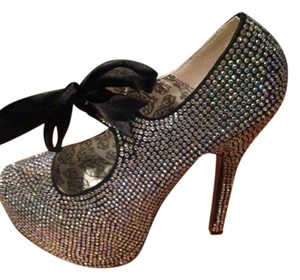 Bordello Bow Rhinestone Glam Glitter Glamourous Pumps Platform Highheels Bling Shiny Sexy Silver and Black Formal