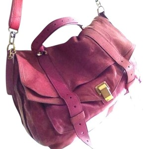 Proenza Schouler Rare Limited Edition Ps1 Ps 1 Large Extra Large Medium Mini Two Tone Raspberry Gold Hardware Iconic Satchel in Orchid Pink Magenta Fuchsia