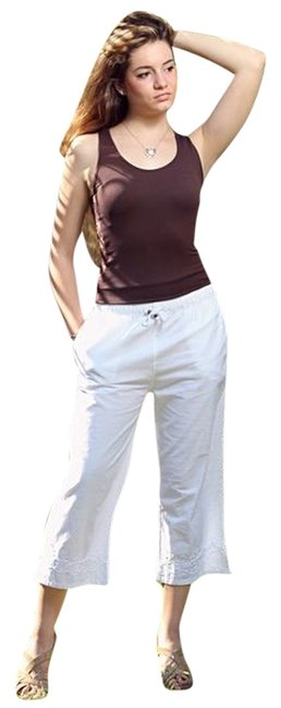 Lirome Resort Vacation Ibicenco Casual Summer Capris White