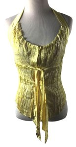 Roberto Cavalli Vintage Silk Yellow Halter Top