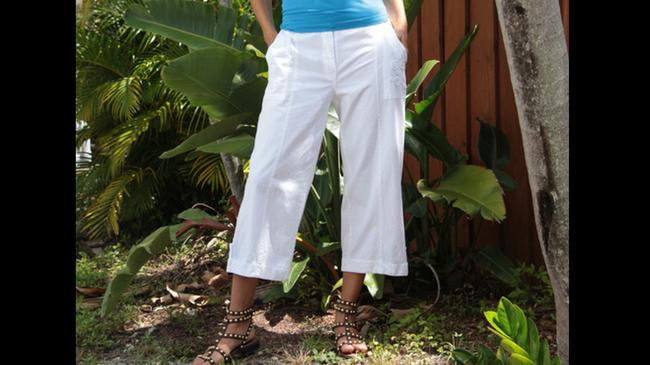 Lirome Summer Resort Vacation Beach Nautical Capris White