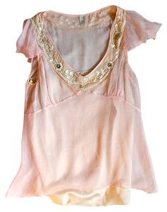Mint Sheer Beaded Embellished Top Pink