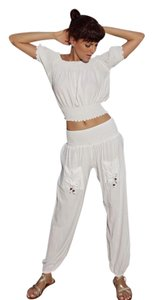 Lirome Yoga Beach Vacation Resort Baggy Pants White