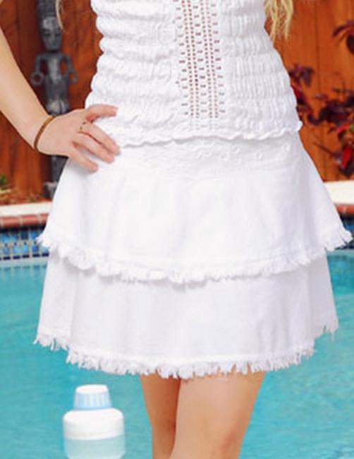 Lirome Resort Mini Boho Mini Skirt White