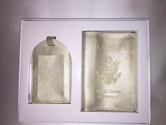 Z Gallerie Champagne Pearl Reptile Embossed Passport Cover & Luggage Tag Set [ Roxanne Anjou Closet ]