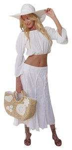 Lirome Embroidered Boho Cottage Chic Skirt White