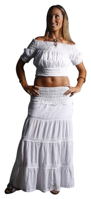 Lirome Crochet Maxi Skirt White