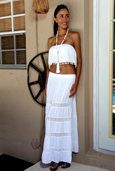 Lirome Casual Crochet Summer Country Maxi Skirt White