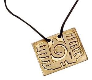 Sterling 925 Gold Vermeil Rectangular Pendent Necklace w/Brown Cord- 14.25