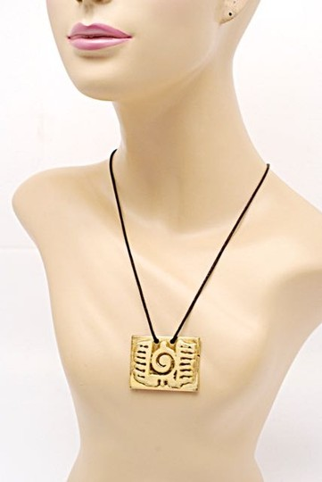 """Other Sterling 925 Gold Vermeil Rectangular Pendent Necklace w/Brown Cord- 14.25"""" Drop"""