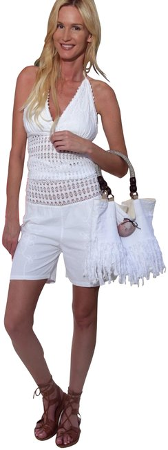 """Item - White Organic Cotton Embroidered """"Fanny"""" Pants Shorts Size 6 (S, 28)"""