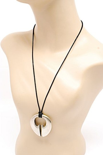 """Other Interestingly Shaped Sterling Silver Pendent Necklace w/Black Cord - 13.5"""" Drop"""