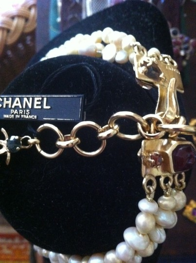 Chanel CHANEL Tripple Strand Pearl Choker with Maltese Cross Pendant w/ Tag
