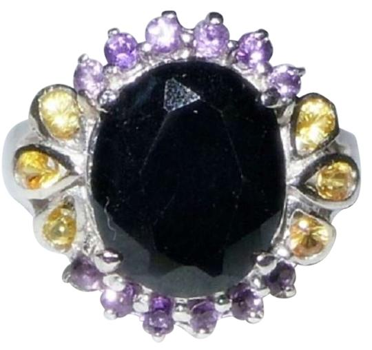 Other Black Sapphire 925 Sterling Silver Cocktail Ring Size 7