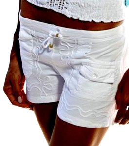 Lirome Embroidered Casual Beach Mini/Short Shorts White