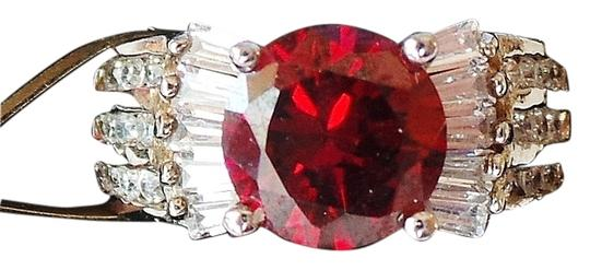 Other Red Topaz and White Zircon 925 Sterling Silver Cocktail Ring Size 6