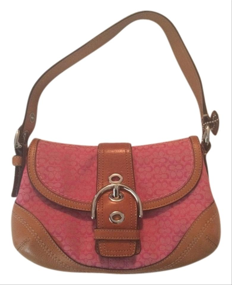 coach pink signature soho purse pink with tan leather trim