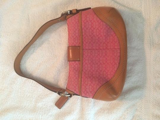 Coach Preowned Excellent Condition Satchel in Pink with tan leather trim