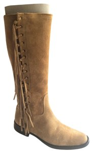 Coach Fringe Suede Heel Chunky Brown Boots