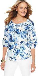 Charter Club Linen Floral Button Down Shirt Blue