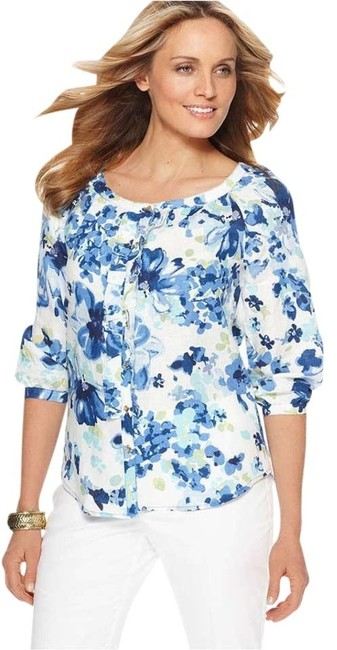 Preload https://item5.tradesy.com/images/charter-club-blue-summer-splash-linen-blouse-button-down-top-size-6-s-386669-0-0.jpg?width=400&height=650