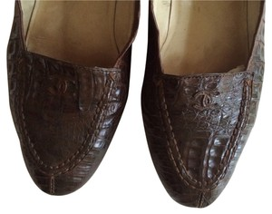 Chanel Vintage Leather Brown Brown Crocodile Flats