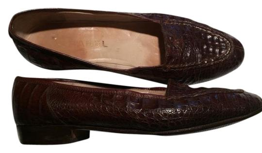 Chanel Vintage Leather Brown Crocodile Flats