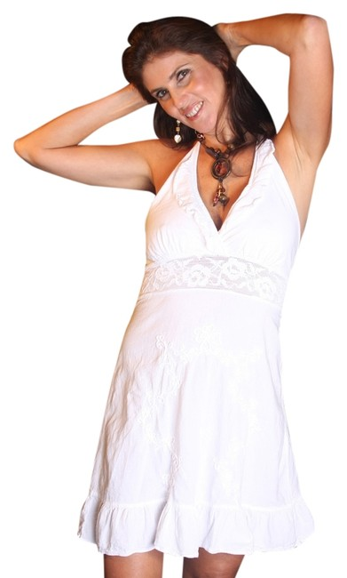 Lirome short dress White Embroidered Halter on Tradesy
