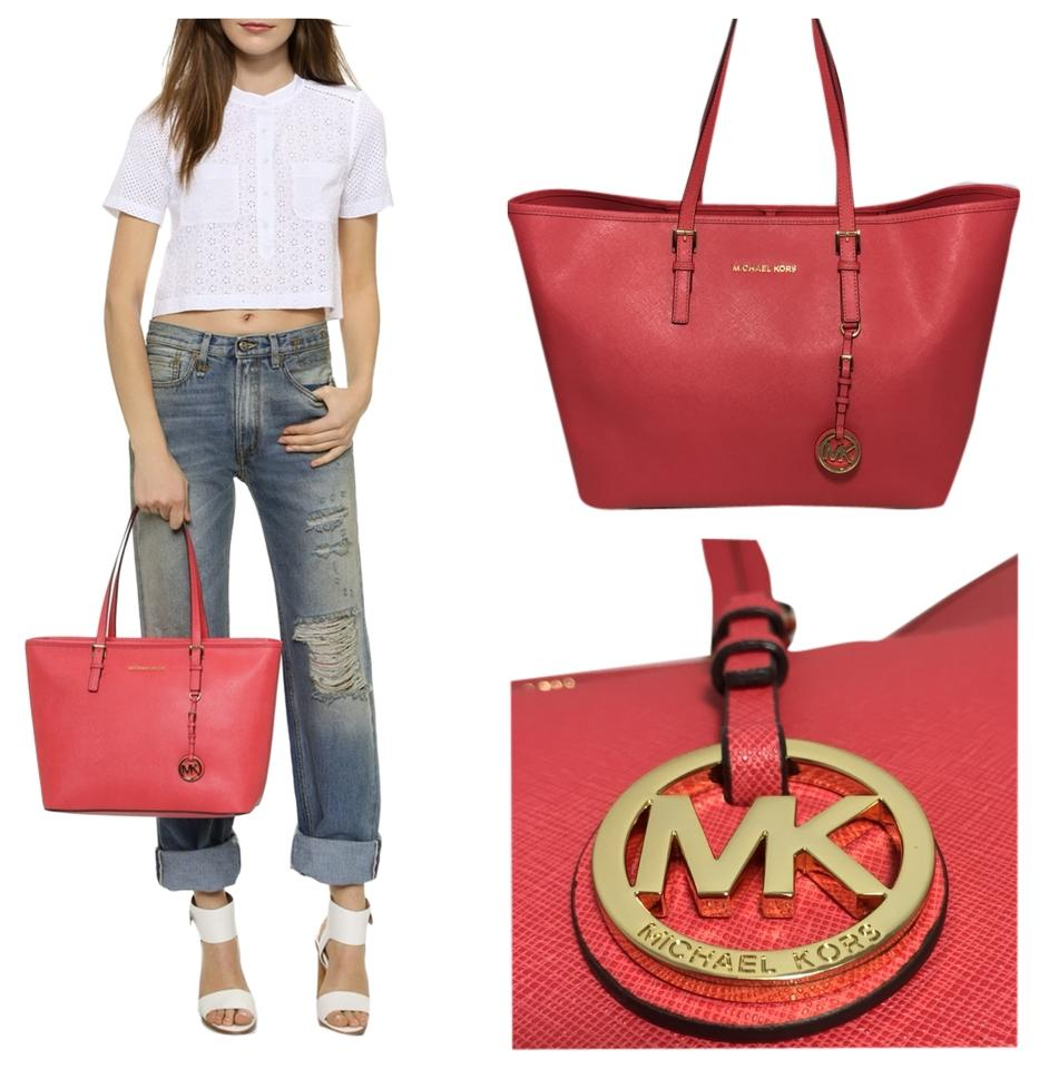 c94fee4849d Michael Kors Medium Jet Set Travel Watermelon Saffiano Tote - Tradesy
