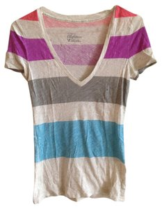 American Eagle Outfitters Casual Summer T-shirt Stripes Color-blocking Cotton T Shirt White