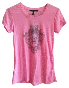 BCBGMAXAZRIA Semi-sheer Casual Cotton Graphic T T Shirt Pink