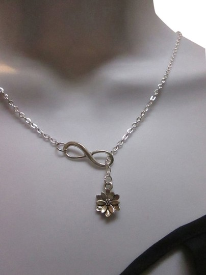 Other New Infinity dainty lotus flower charm lariat necklace, ohm om wisdom peaceful