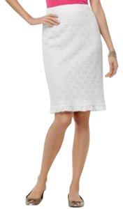Sunny Leigh Lined * Ruffle At Hem Hits At Knee Lace Overlay Pencil Silhouette Skirt White