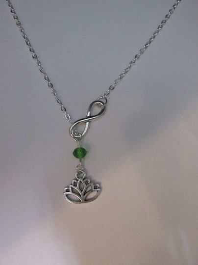 Other New Infinity lotus flower blue crystal lariat necklace, ohm om wisdom peaceful