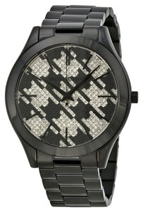 Michael Kors Michael Kors Black Ion Plated Houndstooth Crystal Pave Ladies Watch