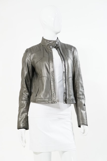 Elie Tahari Metallic Steel Leather Motorcycle Jacket Silver, Pewter Blazer