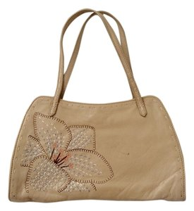 BCBGMAXAZRIA Vintage Leather Embroidered Wristlet in Nude