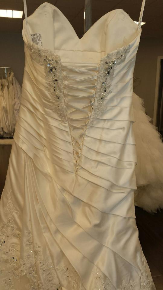 Sophia Tolli Ivory Satin And Tulle Y11317 Cashmere Wedding Dress Size 6 S