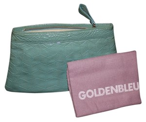 Goldenbleu Patent Leather Gold Hardware Blue Clutch