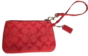 Coach Monogram Wristlet in Cherry Red