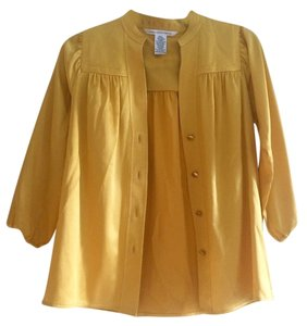 Diane von Furstenberg Bright Silk Yellow Gold Button Dvf Top Gold Yellow