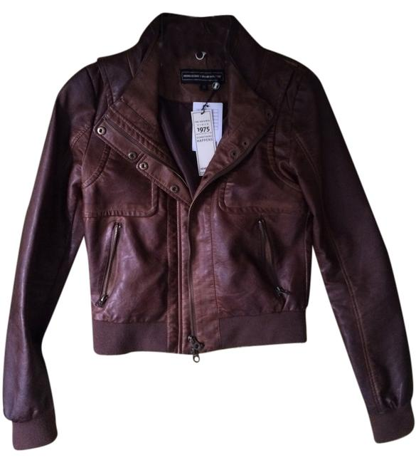 Members Only Aviator Bomber Leather Brown Jacket Image 4